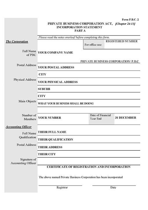 sample company registration papers